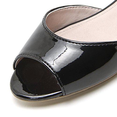 PRENDIMI by Scarpe&Scarpe - Sandalias bajas con correa en el tobillo y tacón dorado, de Piel, con Tacones 2 cm Negro