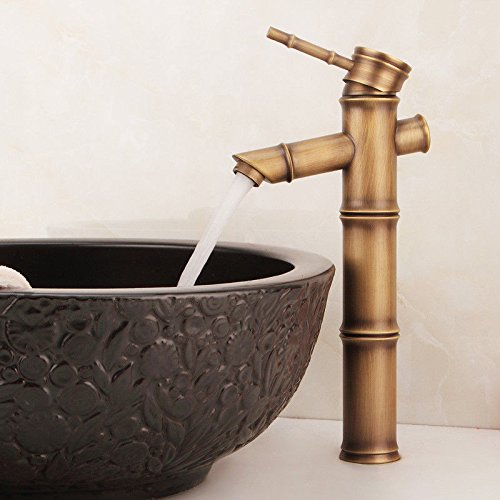 ANNTYE Waschtischarmatur Bad Mischbatterie Badarmatur Waschbecken Antike Kupfer Einhebelsteuerung Warmes und kaltes Wasser 1 Loch gebürstet Badezimmer Waschtischmischer