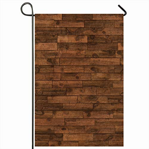 Ahawoso Outdoor Garden Flag 12x18 Inches Brown Laminate Wood Dark Chestnut Flooring Grain Abstract Floor Walnut Covering Cracked Defect Seasonal Double Sides Home Decorative House Yard Sign