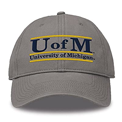 The Game NCAA Michigan Wolverines Bar Design Classic Relaxed Twil Hat, Gray, Adjustable from MV CORP. INC