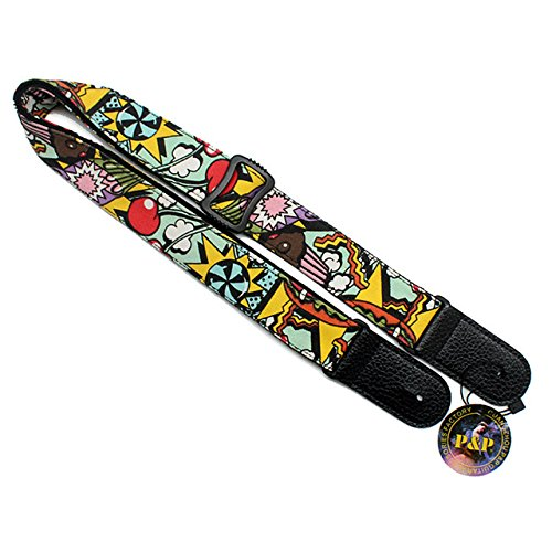 Art Attack Cartoon World Fair Casino Dice Cherry Electric Acoustic Ukulele Bass Guitar Strap
