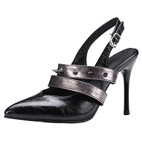 TAOFFEN Women Pointed Toe Slingback Pumps Shoes Black WSExeovd4q