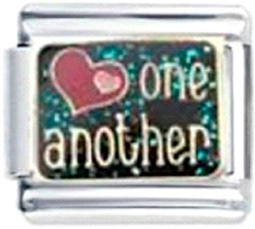 LOVE ONE ANOTHER HEARTS FAMILY KIDS Enamel Italian Charm 9mm - 1 x LV079 Link