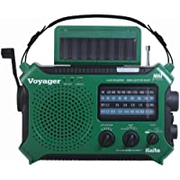 Kaito KA500IP-GRN Voyager Solar/Dynamo AM/FM/SW NOAA Weather Radio with Alert and Cell Phone Charger, Green