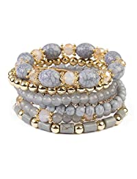 MYS Collection Multi Strand Bead Layering Statement Bracelets - Colorful Beaded Strand Stretch Bangles