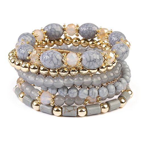 Stretch Bead Set Bracelet (MYS Collection RIAH Fashion Multi Strand Bead Layering Statement Bracelets - Colorful Beaded Strand Stretch Bangles (Gray))