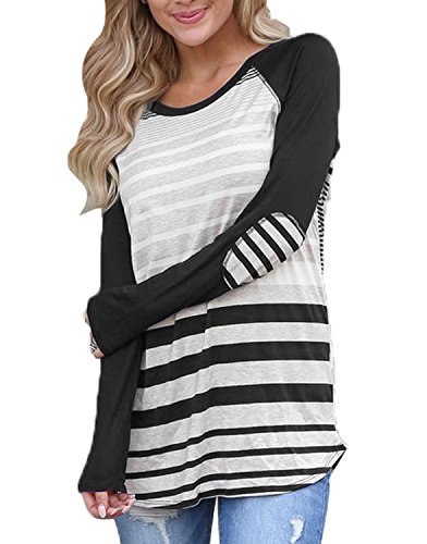 ANDYICEE Womens Casual Tunic Tops Junior Long Sleeve Stripe T-Shirts Blouses