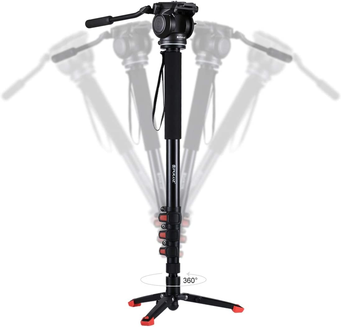 Fluid Head with Support Base Bracket Camera Accessories Four-Section Telescoping Aluminum-Magnesium Alloy Self-Standing Monopod