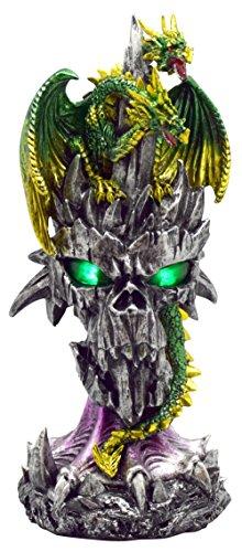 Fantasy 2 Light - Fantasy Gifts 2814 2 Headed Dragon on LED Skull Light Figurines 9.5