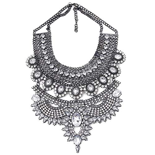 d90c8fdc77 Amazon.com: Vintage Silver Necklaces & Pendants Vintage Crystal Maxi Choker  Statement Collier Femme Boho Big Fashion Women Jewellery: Kitchen & Dining