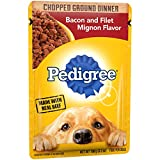 Pedigree Chopped Ground Dinner Bacon and Filet Mignon Flavor Adult Wet Dog Food, (16) 3.5 oz. Pouches