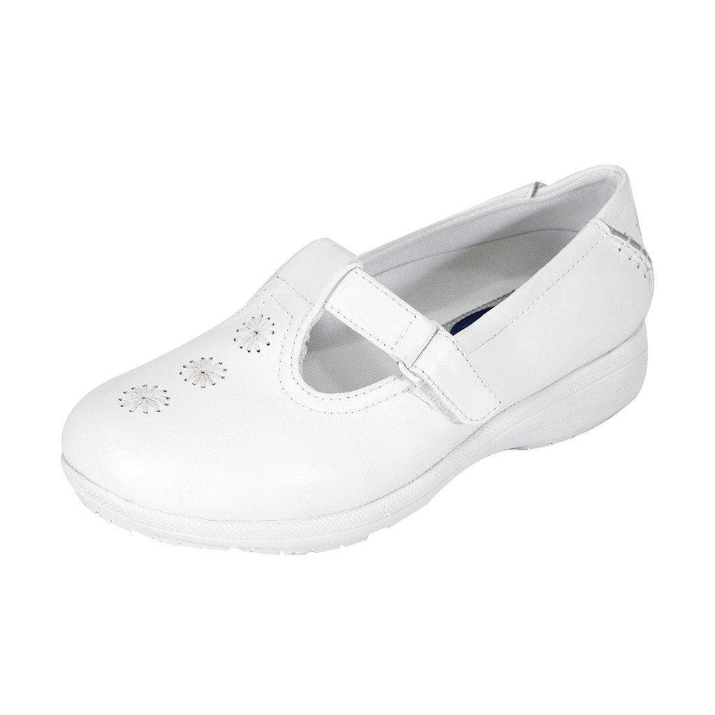 24 Hour Comfort  Lily Women Extra Wide Width T-Strap/Spiral Upper with Adjustable Fasteners White 9