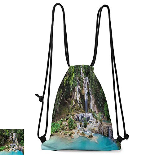 (Gym backpack Waterfall Decor Waterfall in Corner of Lake in Laos Surrounded by the Vietnamese Trees W14