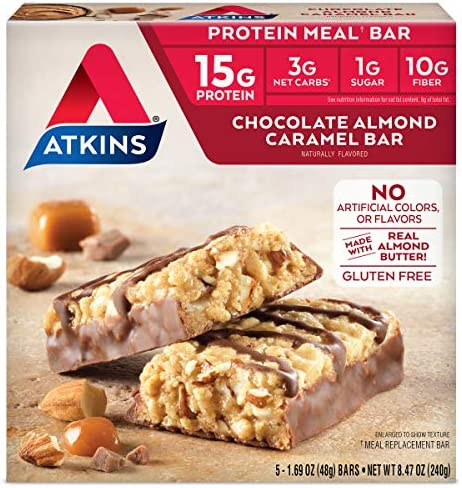 Atkins Protein Meal Bar, Chocolate Almond Caramel, Keto Friendly, 5 Count 1