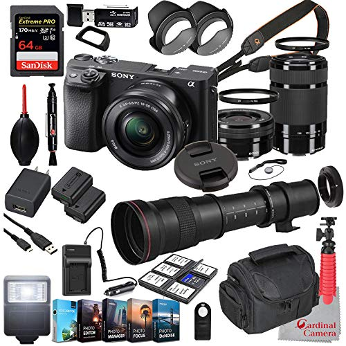 Sony Alpha a6400 Mirrorless Camera with 16-50mm and 55-210mm Lenses Bundle + Extreme Speed 64GB Memory + T-Mount 420-800mm Telephoto Zoom Lens (33 Items)