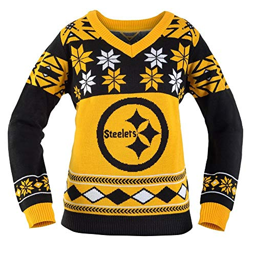 Klew Pittsburgh Steelers Womens NFL Big Logo Ugly V-Neck Sweater