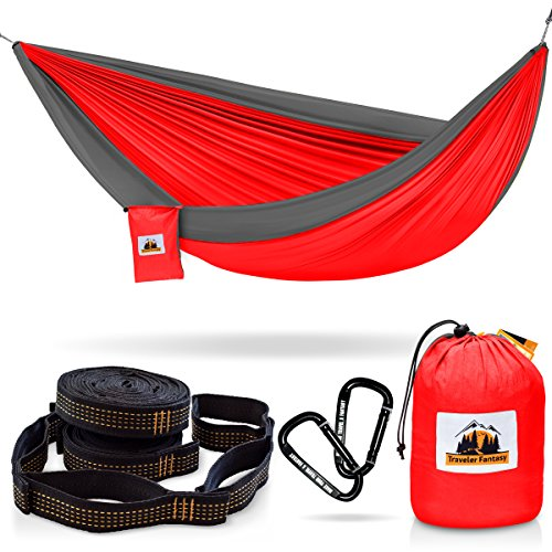 Huge Sale Ending Soon! All-in-One Camping Hammock, Portable and Lightweight – Includes Double Parachute Hammock + 2 Heavy Duty 10' Straps + Super Strong Carabiners by Traveler Fantasy (Red & Gray)