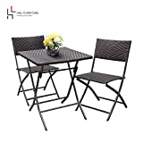 HL Patio Resin Rattan Steel Folding Bistro Set, Parma Style, All Weather Resistant Resin Wicker, 3 PCS Set of Foldable Table and Chairs, Color Espresso Brown, 1 Year Warranty