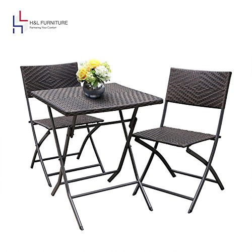 H&L Patio Resin Rattan Steel Folding Bistro Set, Parma Style, All Weather Resistant Resin Wicker, 3 PCS Set of Foldable Table and Chairs, Color Espresso Brown, 1 Year Warranty For Sale
