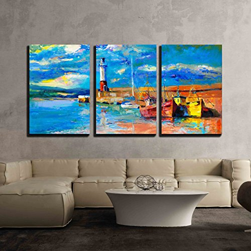 Original Oil Painting Canvas (wall26 - 3 Piece Canvas Wall Art - Original Oil Painting of Lighthouse and Boats on Canvas - Modern Home Decor Stretched and Framed Ready to Hang - 16