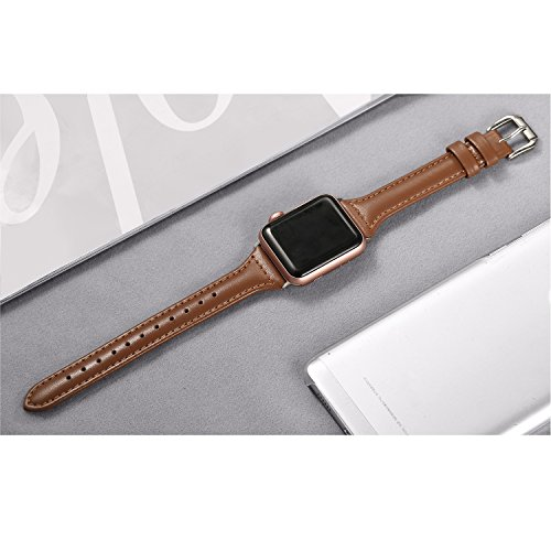 5b6471f286c Secbolt Leather Bands Compatible Apple Watch Band 38mm 40mm Slim  Replacement Wristband Sport Strap for Iwatch