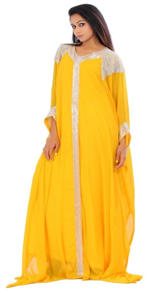Leena Dubai Very Fancy Kaftan Luxury Crystal Beaded Caftan Abaya Wedding Dress (XXXL Yellow)