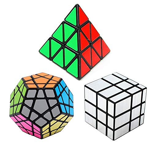 Sematyoung Speed Cube Set Bundle Pack of 3, Pyraminx Magic Puzzle Cube, Megaminx Speedcubing and Silver Mirror Cube Black, Great Gift for Kids and Adults