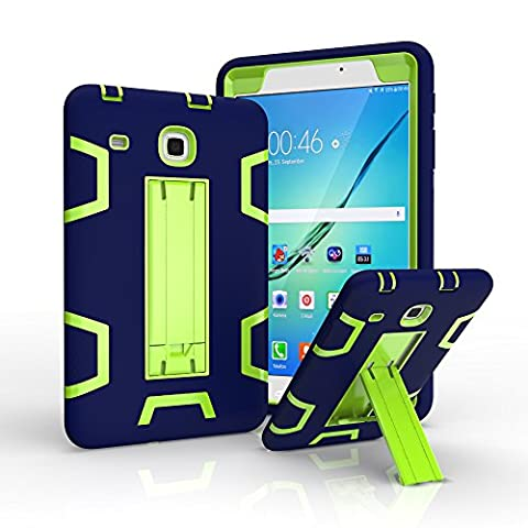 Galaxy Tab E 8.0 Case, TAB E 8.0 Case, Asstar 3 in 1 Hybrid Heavy Duty Shockproof Impact Resistant Armor Kickstand Defender Protection Case for Samsung Galaxy Tab E 8.0 inch T377/T375 (Navy - Chanel Green