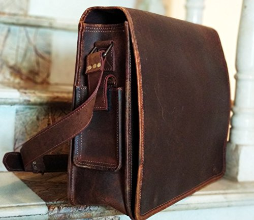 16 Inch Leather Vintage Rustic Crossbody Messenger Courier Satchel Bag Gift Men Women ~ Business Work Briefcase Carry Laptop Computer Book Handmade Rugged & Distressed By KK's Leather by kk's leather