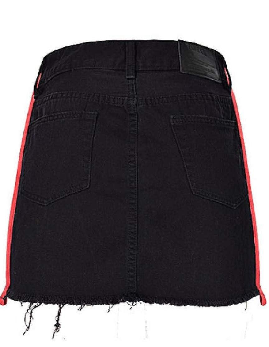 Joe Wenko Womens Contrast Color Bodycon Denim Retro High Rise Cutoff Skirts