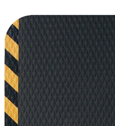 M+A Matting 424 Nitrile Rubber Hog Heaven Anti-Fatigue Mat with Yellow Striped Border, 5