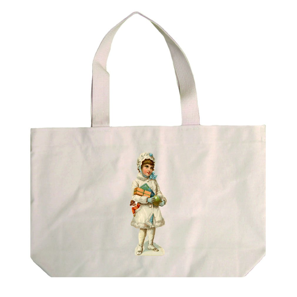 Natural Canvas Beach Tote Girl In White Coat Vintage Look #2 By Style In Print