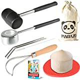 Coconut Opener Set Tool Kit with PREMIUM Stainless Steel Mallet & Punch & Reusable Straws & Meat Removal Tool Knife Scoop for Young Thai Coconuts by PANDAZO - & Silicone Mat & Carry Bag & Recipe Ebook