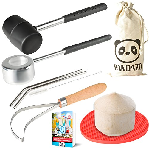 Coconut Opener Set Tool Kit with PREMIUM Stainless Steel Mallet & Punch & Reusable Straws & Meat Removal Tool Knife Scoop for Young Thai Coconuts by PANDAZO - & Silicone Mat & Carry Bag & Recipe Ebook by Pandazo