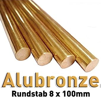 Aluminium bronze - round rods of pure metals 8 x 100 mm for the comparative analysis of material properties, reference samples, material testing, materials science, metallurgy Polymet