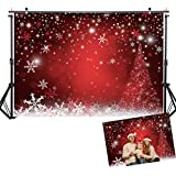 Allenjoy 7X5ft Winter Red and Christmas Tree Background for Photography Snowflake Bokeh Photo Backdrop Studio Props Christmas Party Decorations