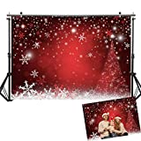 Allenjoy 7X5ft Winter Red and Christmas Tree Background for Photography Snowflake Bokeh Photo Backdrop Studio Props Christmas Party Decorations: more info