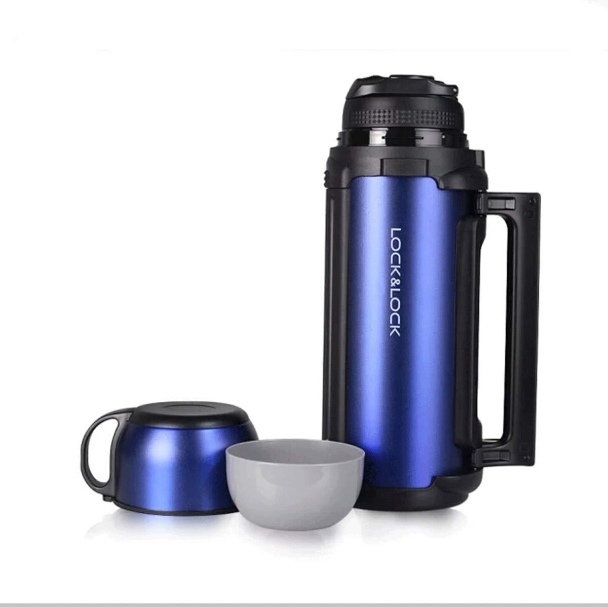 ハンドルが付いている絶縁カップ、大容量魔法瓶、車/家のやかん、屋外の旅行携帯用男性と女性のやかん、ステンレス鋼のコップ、1.8 L (Color : Blue)  Blue B07RJYVJ6C