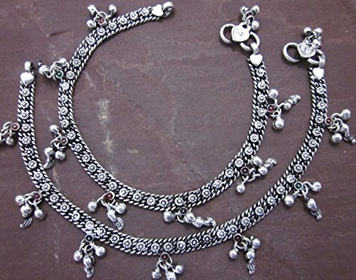 Handmade Fine Soldered Ankle Bracelet Boho Barefoot Sandals Beachy Jewelry Metal Chain Paisley Charm Anklet Pair Indian Payal Oxidized Silver Plated
