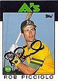 Rob Picciolo autographed baseball card (Oakland Athletics) 1986 Topps #672 - MLB Autographed Baseball Cards