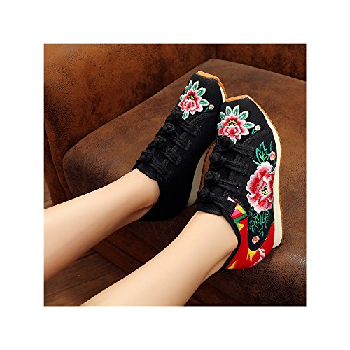 Sneakers Chinoises Plate Casual Chaussures Confort Femmes Noir OCHENTA Toile Dames Plate Chaussures forme Forme Brodée Z7wqEvq8