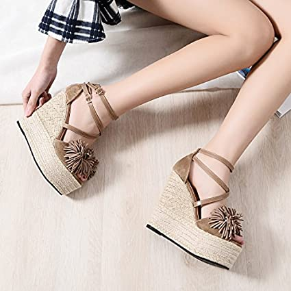 c3a2c9e0d9ea GTVERNH Spring And Summer 15Cm Super High Heels Wedges Ladies Sandals Sexy  Tassel Waterproof Thick Soles