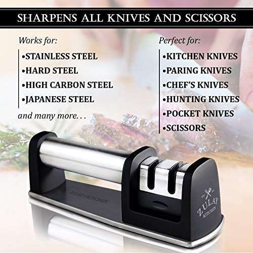 Best Manual Stainless Steel Knife Sharpener for Straight and Serrated Knives, Ceramic and Tungsten - Easy Sharpening for Dull Steel, Paring, Chefs and Pocket Knives, Sharpens Scissors by Zulay Kitchen by Zulay Kitchen (Image #5)
