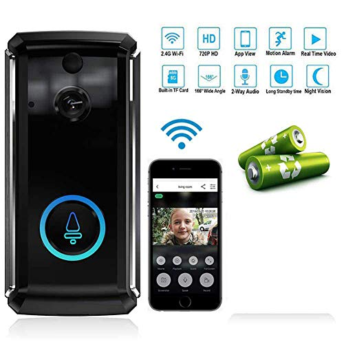 Doorbell Video Wireless - 720p HD WiFi Security Camera - Real-time 2-Way Talk & Video, Night Vision, PIR Motion Detection and App Control