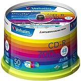 三菱化学メディア Verbatim CD-R 700MB 1回記録用 48倍速 スピンドルケース 50枚パック ワイド印刷対応 ホワイトレーベル SR80SP50V1