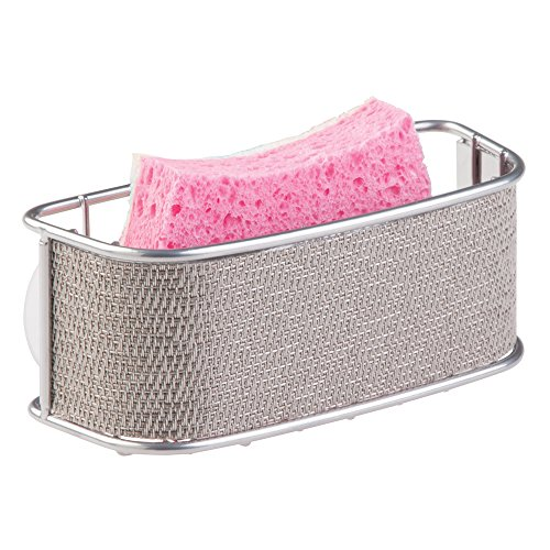 mDesign Kitchen Sink Suction Basket for Sponges, Scrubbers, Soap - Metallico