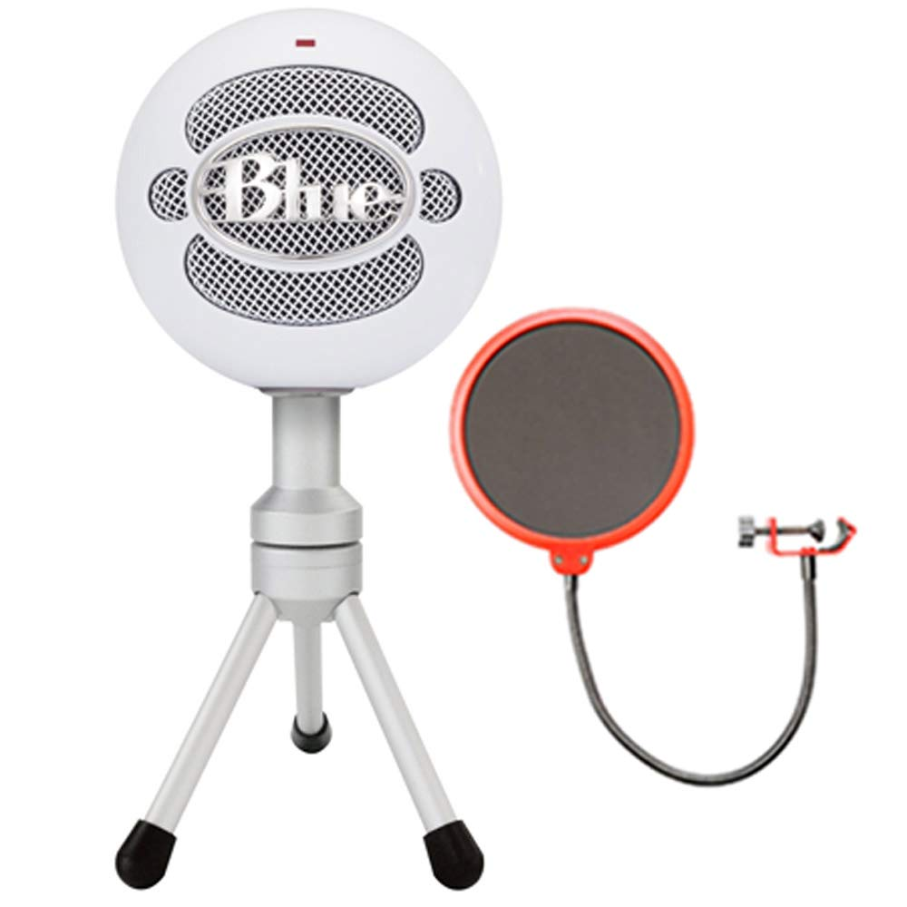 Blue Microphones Snowball iCE Versatile USB Microphone - Black (SNOWBALL iCE Black) with Universal Pop Filter Microphone Wind Screen with Mic Stand Clip E1BLMSBICEBK