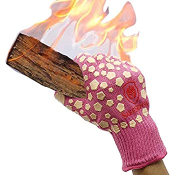 Charmyth Extreme Heat Resistant Gloves Cooking Oven Gloves for Kitchen Oven Mitts BBQ Gloves (1 Pair Pink)