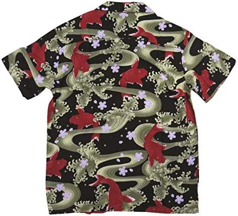 大鯉流水 舞桜 半袖 和柄 レーヨン100% アロハシャツ