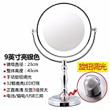 STAZSX LedVanity mirrors desktop European style with light vanity mirror princess beauty mirror Creative Tunable Optical mirrors,9Inch,Stainless Steel (3X magnification)